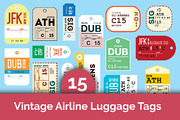 15 Vintage Airline Luggage -Graphicriver中文最全的素材分享平台